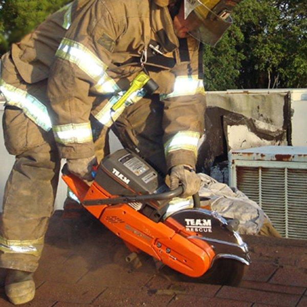 firefighter rescue saw roof work with Blazer blade